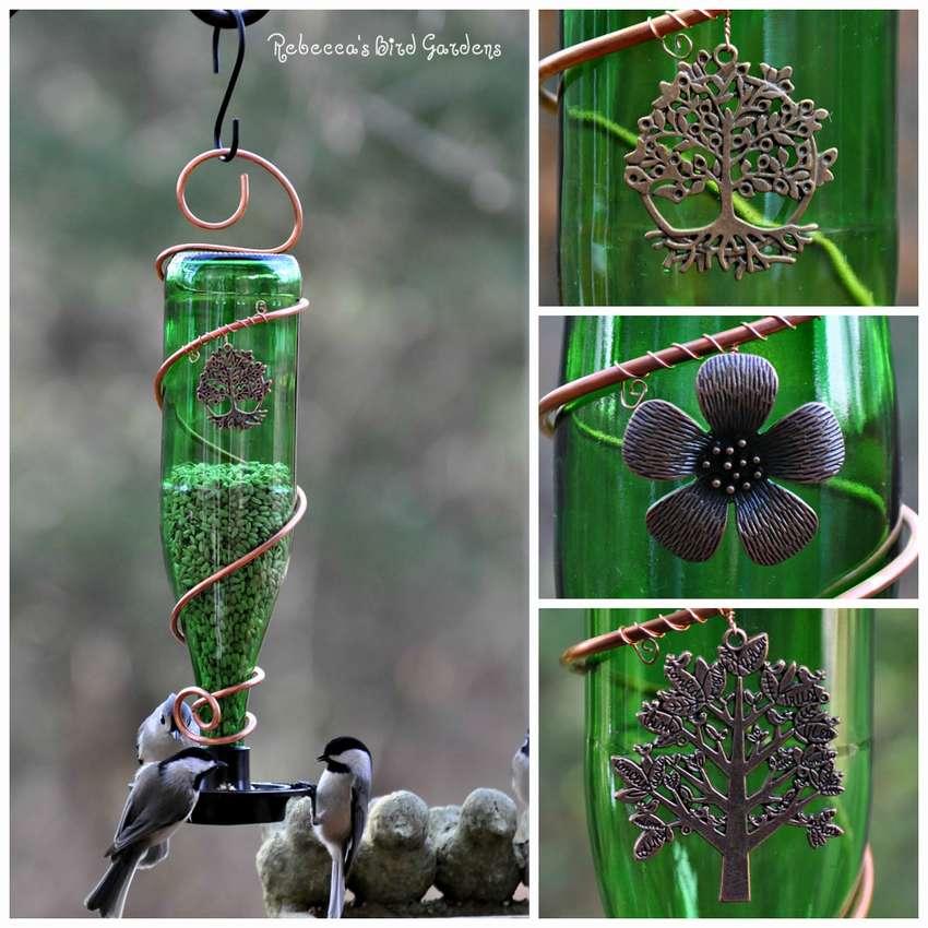 кормушки для птиц из стеклянных бутылок своими руками