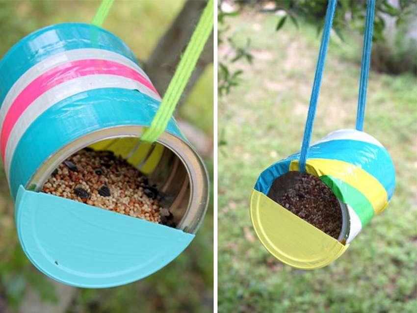 как сделать кормушку для птиц из жестяных банок