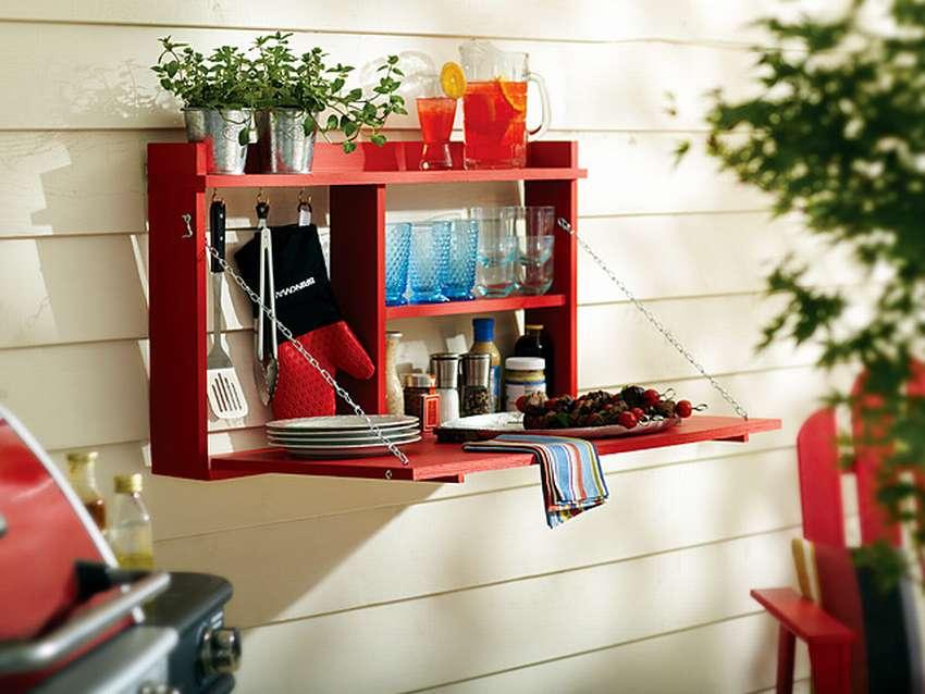 шкаф с откидным столом для балкона