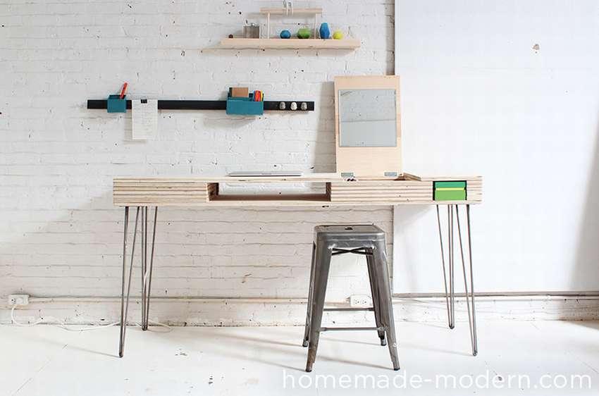 стол из фанеры с ящиками