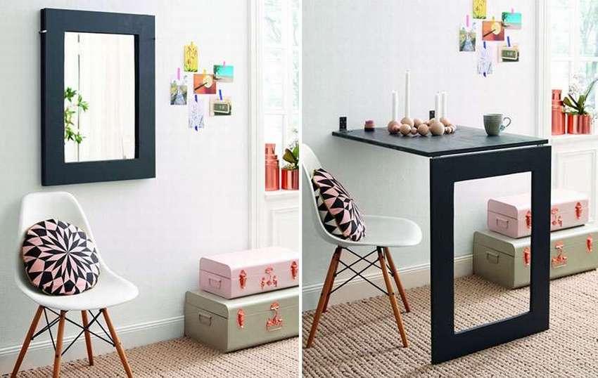 откидной стол с зеркалом