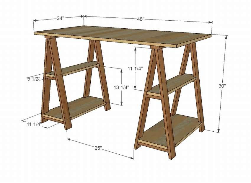 схема сборки письменного стола
